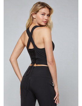 Back Lace Up Vest by Bebe