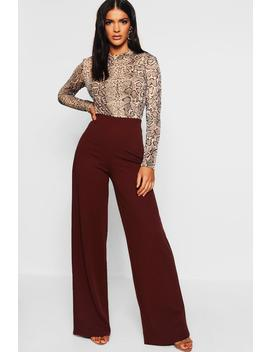 Crepe Wide Leg Trousers by Boohoo