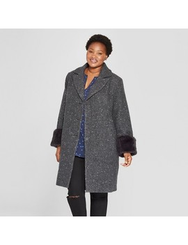 Women's Plus Size Single Breasted Coat   Ava & Viv™ Charcoal by Ava & Viv