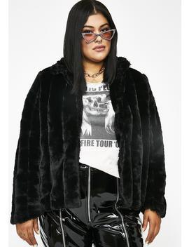 Midnight Run It Up Faux Fur Jacket by Carmin