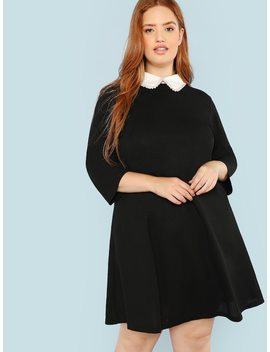 Plus Contrast Collar Pearl Embellished Dress by Shein