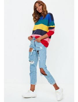 Blue Rainbow Stripe Knitted Sweater by Missguided