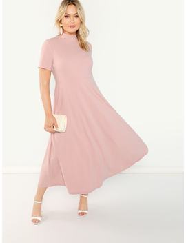 Plus Mock Neck Flare Solid Dress by Shein