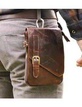 Le'aokuu Mens Genuine Leather Coffee Fanny Small Messenger Shoulder Satchel Waist Bag Pack by Le'aokuu