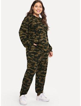 Plus Camo Print Top & Sweatpants Set by Shein