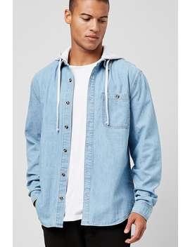 Hooded Chambray Shirt by Forever 21