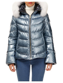 Reversible Fox Fur Hood Quilted Puffer Apres Ski Jacket by Gorski