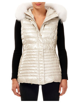 Horizontal Quilted Puffer Apres Ski Vest W/ Fox Fur Trim by Gorski