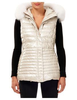 Horizontal Quilted Puffer Apres Ski Vest W/ Fox Fur Trim by Gorski