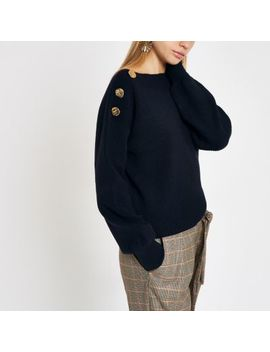 Navy Boat Neck Button Detail Jumper by River Island