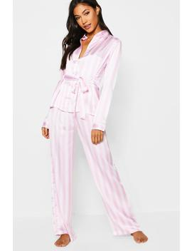 Stripe Satin Button Through Tie Front Pj Set by Boohoo