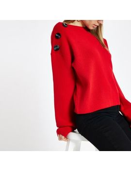 Red Knit Boat Neck Button Jumper by River Island