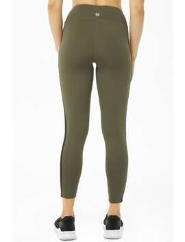 Active Metallic Striped Trim Leggings by Forever 21