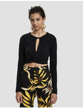 Ava Knotted Crop Top In Black by Which We Want