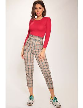Beige Check Paperbag Waist Trousers by I Saw It First