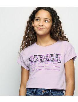 Girls Lilac Toronto Slogan Camo Box T Shirt by New Look