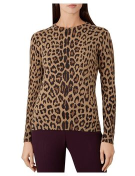 Hazel Leopard Print Merino Wool Sweater by Hobbs London