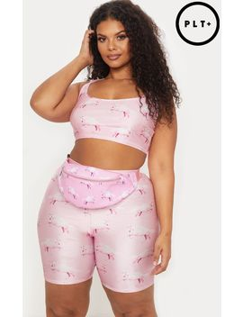 Prettylittlething Plus Pink Unicorn Print Crop Top by Prettylittlething