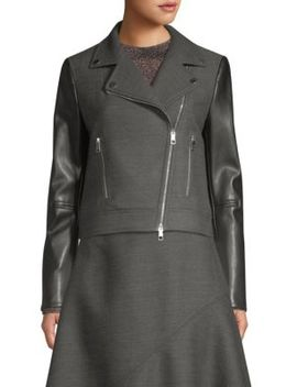 Judelina Asymmetric Wool & Leather Biker Jacket by Boss