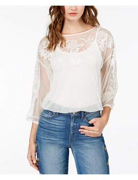 Luna Embroidered Mesh Top by Guess
