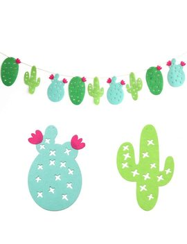 1 Set Cactus Series Large Balloons Drinking Straw Green Bunting Garland For Party Favors Home Decor Swimming Pool Party Supplies by Partism