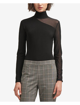 Mesh Turtleneck Bodysuit, Created For Macy's by Dkny