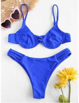 Zaful Strappy Underwire Bikini Set   Cobalt Blue L by Zaful