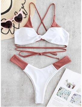Zaful Lace Up Twist Two Tone Bikini Set   Rosy Finch L by Zaful