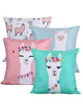 Animal Alpaca Flower Cushion Cover Cactus Party Llama Pillow Case Tropical Vintage Chair For Sofa Throw Pillows 45cm Burlap Soft by Fancy Qbue