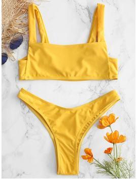Square Neck High Leg Bikini   Bright Yellow M by Zaful