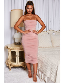 Keep It Simple Ruched Bandeau Midaxi Dress In Blush by Oh Polly