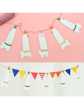 1 Set Cute Funny Party Banner Alpaca Flags Per Bunting Kawaii Party Favors Kids Boy Happy Birthday Wedding Decoration by Ali Express