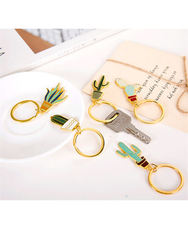 1 Pc Cute Cactus  Keychain Metal Key Ring Birthday Party Decorations Kids Baby Shower Wedding Hawaii Party Decor Cartoon Pendant by Chasanwan