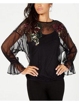 Embellished Mesh Top, Created For Macy's by Thalia Sodi