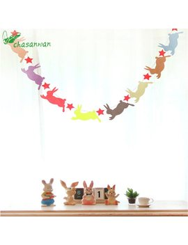 Party Supplies Cute Rabbit Non Woven Bunting Star Garland Wedding Party Decoration Easter Decoration Birthday Party Decor Kids,Q by Chasanwan