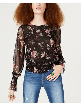 Juniors' Printed Mesh Smocked Waist Blouse, Created For Macy's by American Rag