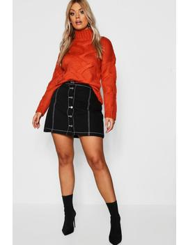 Plus Button Through Contrast Stitch Denim Skirt by Boohoo