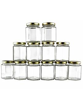 6 Ounce Hexagon Glass Jars (12 Pack); Empty Hex Jars W/Gold Lids For Party Favors, Jams, Samples & More by Cornucopia Brands