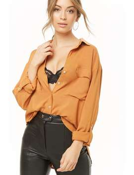 Woven Button Front Shirt by Forever 21