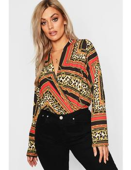 Plus Chain Print Plunge Wrap Bodysuit by Boohoo