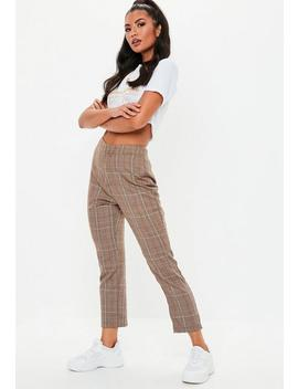 Brown Woven Check Cigarette Co Ord Trousers by Missguided