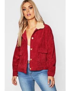 Plus Shearling Cord Trucker Jacket by Boohoo