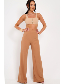 Camel Zip Front Crop Top   Ivorie by Rebellious Fashion