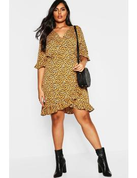 Plus Leopard Print Ruffle Skater Dress by Boohoo