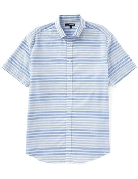 Jaspe Two Tone Stripe Short Sleeve Woven Shirt by Murano