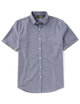 Slim Fit Gingham Performance Short Sleeve Woven Shirt by Murano