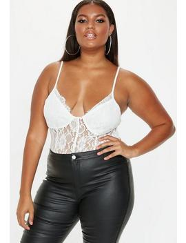 Plus Size White Lace Pipe Detail Bodysuit by Missguided