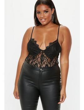 Plus Size Black Lace Pipe Detail Bodysuit by Missguided