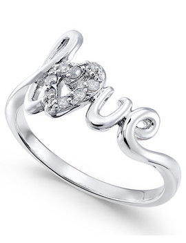 Diamond Love Ring (1/10 Ct. T.W.) In 14k Gold Plated Sterling Silver by Macy's