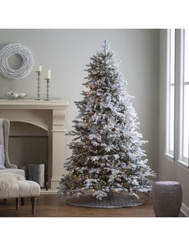 7.5 Ft. Pre Lit Natural Cut Flocked Vermont Spruce Christmas Tree By Sterling Tree Company by Sterling Tree Company